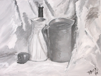 Monochromatic Still life. Acrylic on Canvas. 2004